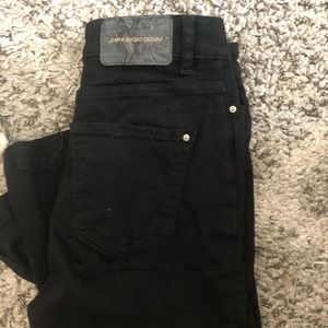 Zara black flared jeans with slit detailing